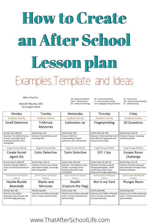 How To Create An After School Lesson Plan  Examples